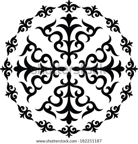 Graphical circular ornament - stock vector