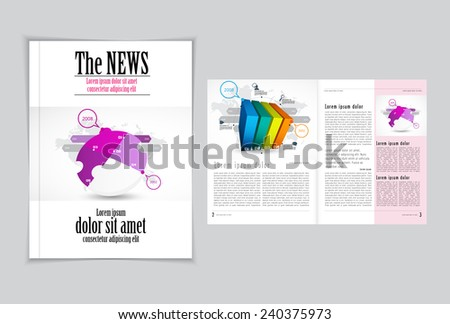 Graphical design magazine template. Vector - stock vector