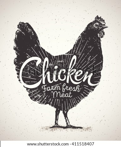 Graphical silhouette chicken and inscription. Vector illustration, drawn by hand. Chicken fast food. Vintage label chicken. - stock vector