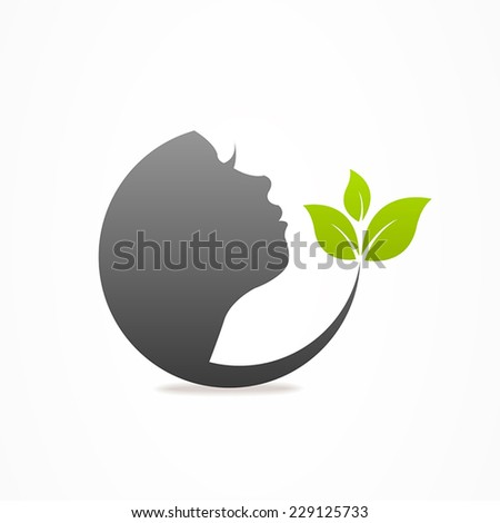 Graphics design icon face leaf - stock vector