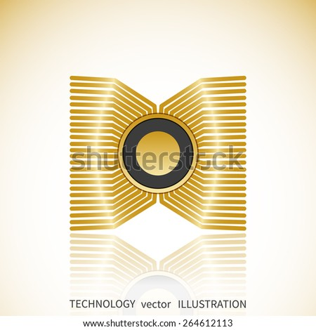 Graphics processing unit symbol - Computer chip or microchip icon with reflection isolated - stock vector