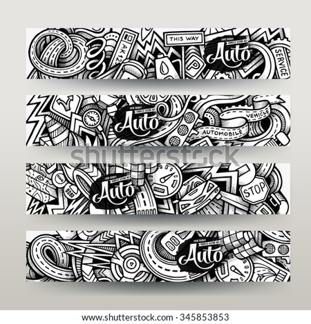 Graphics vector hand-drawn sketchy trace Automotive Doodle. Horizontal banners design templates set - stock vector