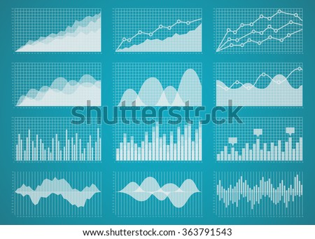 Graphs and charts set. Statistic and data, information  infographic, vector illustration - stock vector