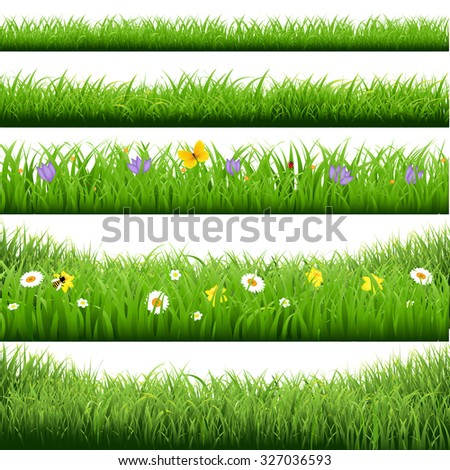 Grass Borders Big Set With Gradient Mesh, Vector Illustration - stock vector