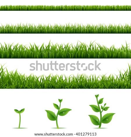 Grass Borders Big Set With Gradient Mesh, Vector Illustration - stock vector