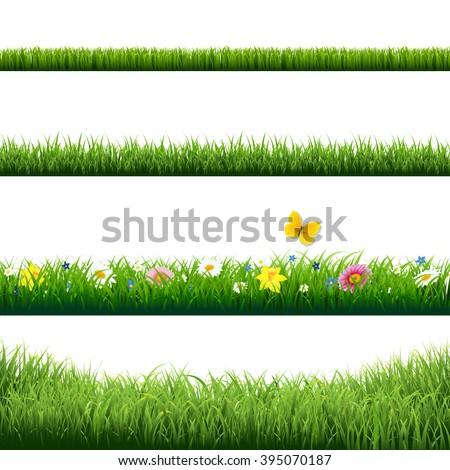 Grass Borders Set With Gradient Mesh, Vector Illustration - stock vector