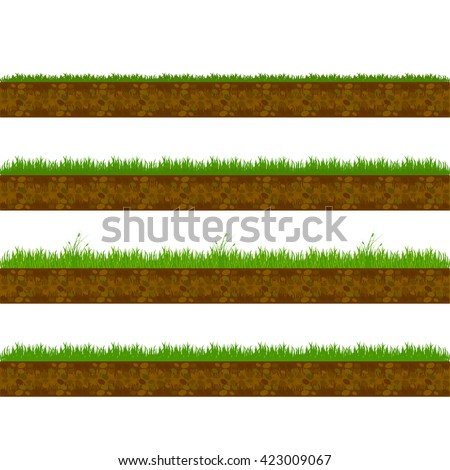 Grass dirt.  Grass ground.  Soil texture,  earth. Vector seamless illustration.  Grass roots. Green grass with in soil isolated. - stock vector