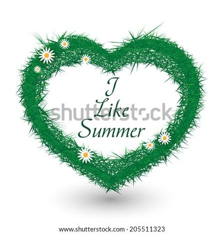 grass heart vector - stock vector