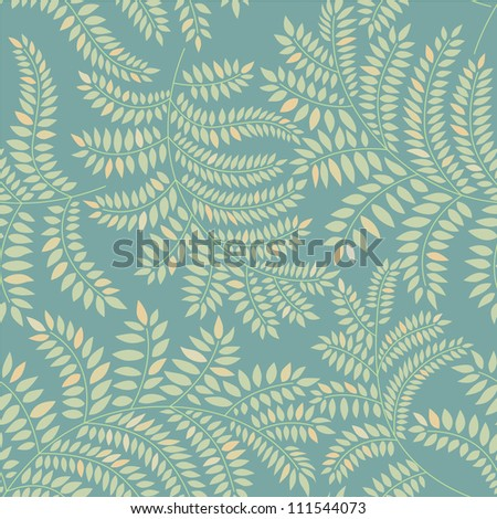 grass seamless pattern with leaves on green background, Print - stock vector