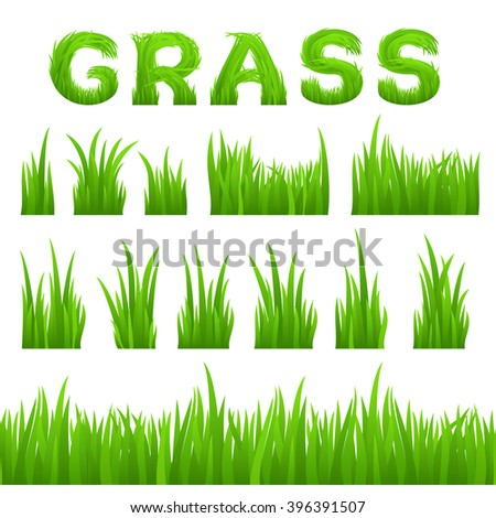 Grass texture design elements set isolated on white background. Collection of early spring green grass horizontal seamless grass row, grass bushes, grass inscription. Vector illustration - stock vector