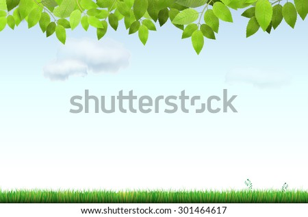 Grass, tree branch and blue sky with clouds - vector illustration - stock vector