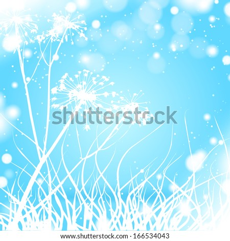 Grass winter silhouette - stock vector