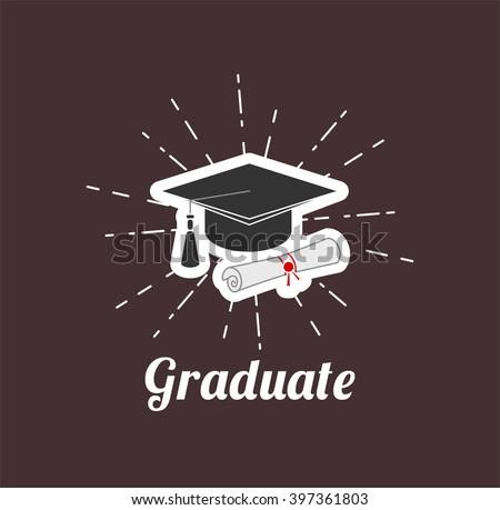 Grasuate hat. Graduation. - stock vector