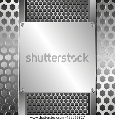 grate background and steel plaque - stock vector