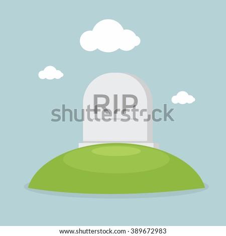 Grave flat design vector - stock vector