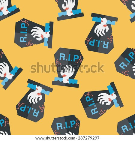 grave flat icon,eps10 seamless pattern background - stock vector
