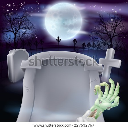 Grave Halloween background of zombie arm and a gravestone in a graveyard with full moon in the background. Copyspace on the grave stone for your text. - stock vector
