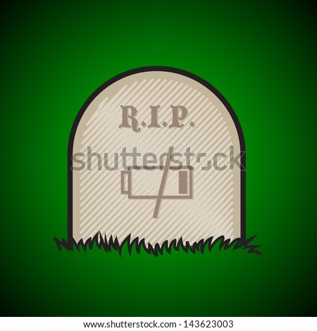 Gravestone, rest in peace, dead battery - illustration - stock vector