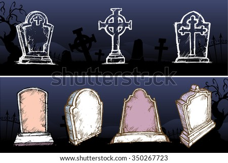 Gravestone Set-Variations of tombstone with spooky cemetery background - stock vector