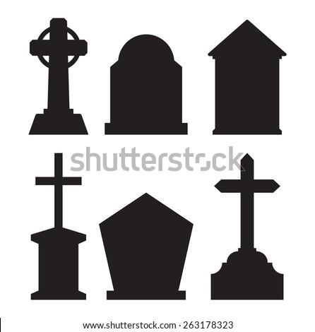 Gravestone tombstone vector icons - stock vector