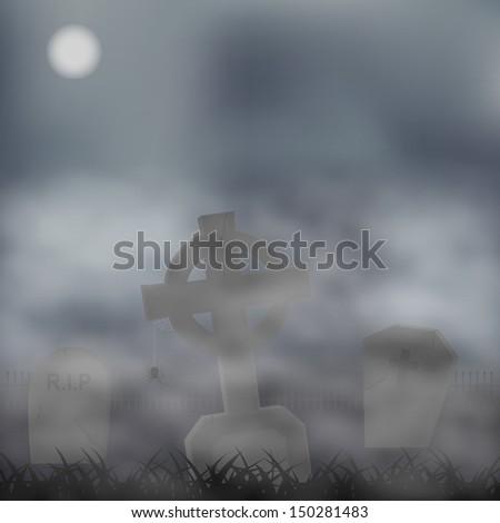 Gravestones background. Vector illustration - stock vector