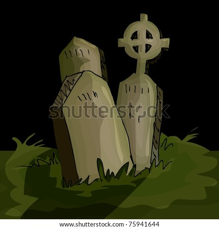 Gravestones in a graveyard in the night time - stock vector