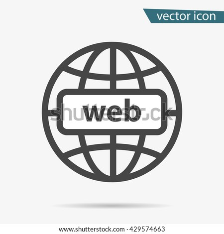 Gray address http icon isolated. Modern simple flat globe sign. Business internet concept. Trendy social vector network www symbol for web site design or button to mobile app. Logo illustration  - stock vector