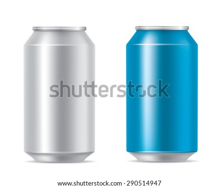 Gray and blue cans - stock vector