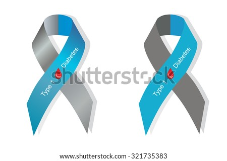 Gray and blue ribbon with blood drop as symbol of diabetes Type 1 - stock vector