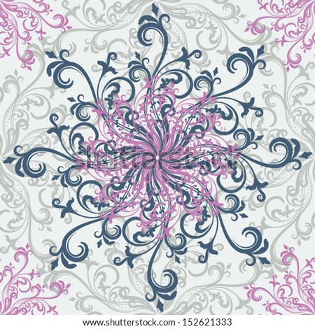 Gray and pink swirly floral rosettes seamless pattern. - stock vector