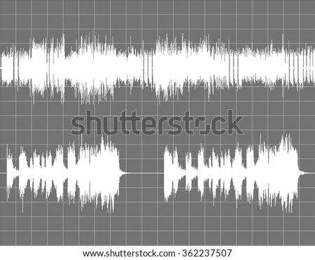 Gray and white abstract digital sound wave background. - stock vector
