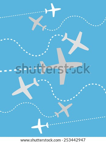 Gray and white airplanes over blue color background - stock vector