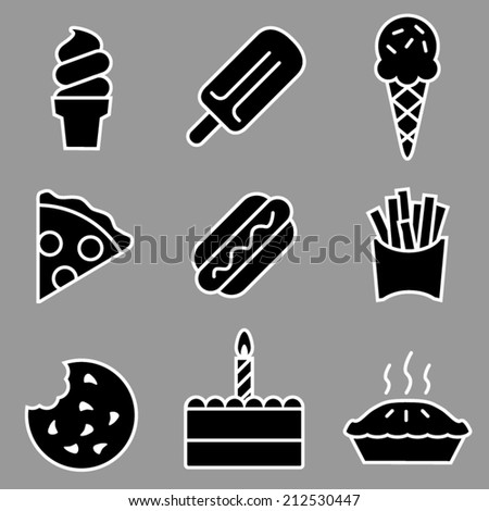Gray and White Vector Junk Food Icons - stock vector
