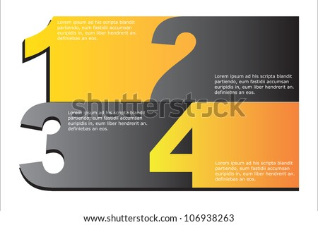 Gray and yellow numbers background, Vector illustration - stock vector
