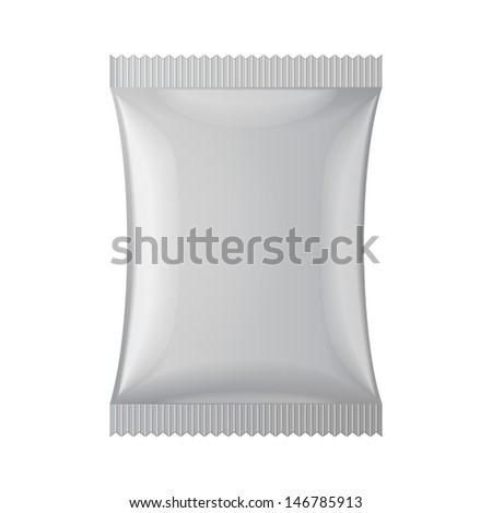 Gray Blank Foil Food Snack Sachet Bag Packaging For Coffee, Salt, Sugar, Pepper, Spices, Sachet, Sweets, Chips, Cookies Or Candy. Plastic Pack Template Ready For Your Design. Vector EPS10  - stock vector