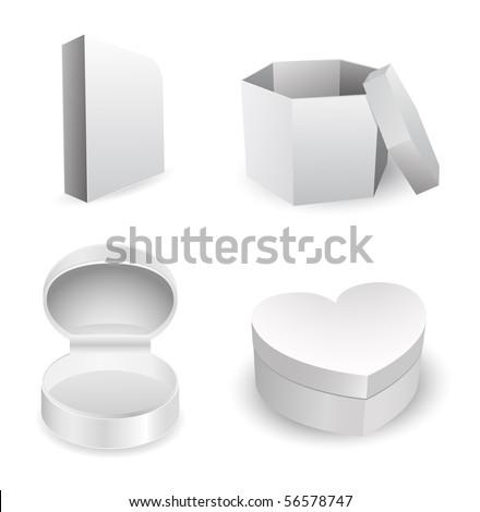gray box - vector set - stock vector