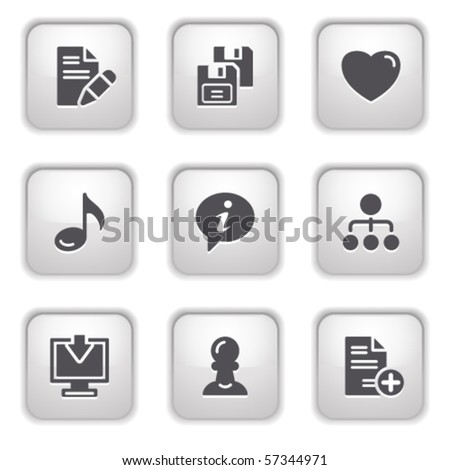 Gray button for internet 10 - stock vector