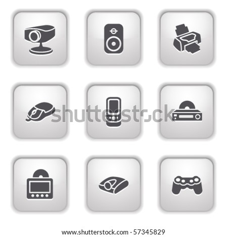 Gray button for internet 21 - stock vector