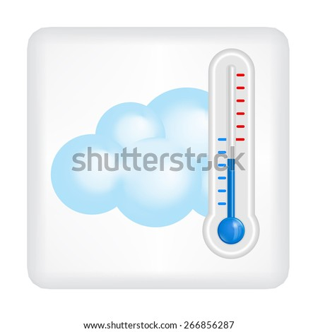 Gray button with blue cloud and blue thermometer vector - stock vector