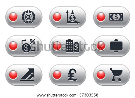 Gray button with lamp 23 - stock vector