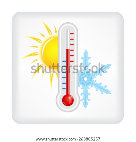 Gray button with yellow sun, blue snowflake and red thermometer vector - stock vector