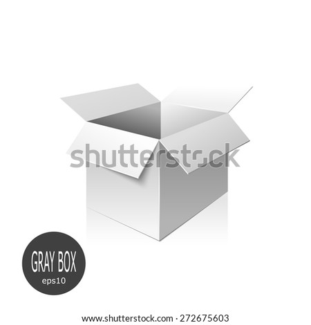 Gray cardboard box isolated on white background. Vector illustration. - stock vector