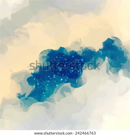 Gray clouds with stars. Abstract illustration. - stock vector