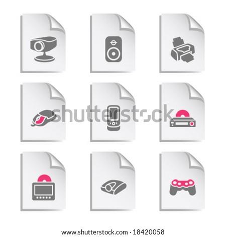 Gray document web icon, set 21 - stock vector