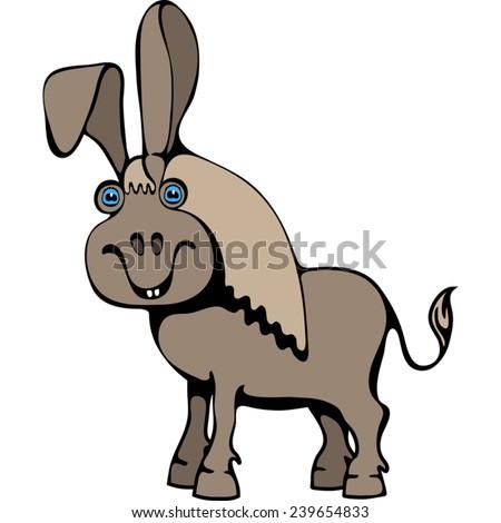 Gray donkey. - stock vector