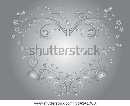 gray floral heart background - stock vector