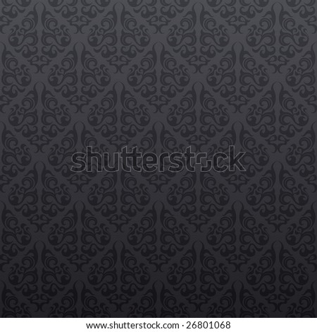 Gray floral seamless wallpaper background pattern design - stock vector