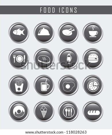 gray food icons over gray background. vector - stock vector