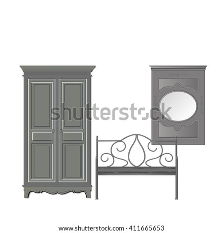 gray furniture on a white background, vector illustration - stock vector
