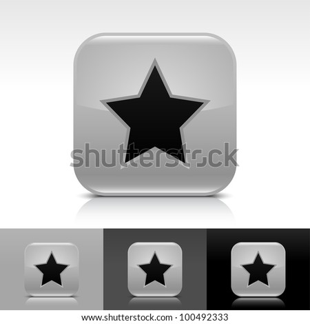 Gray glossy web button with black star sign. Rounded square shape icon with shadow and reflection on white, gray, and black background. Vector 8 eps. - stock vector